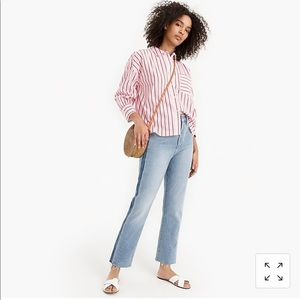 J. Crew oversized striped button-up.